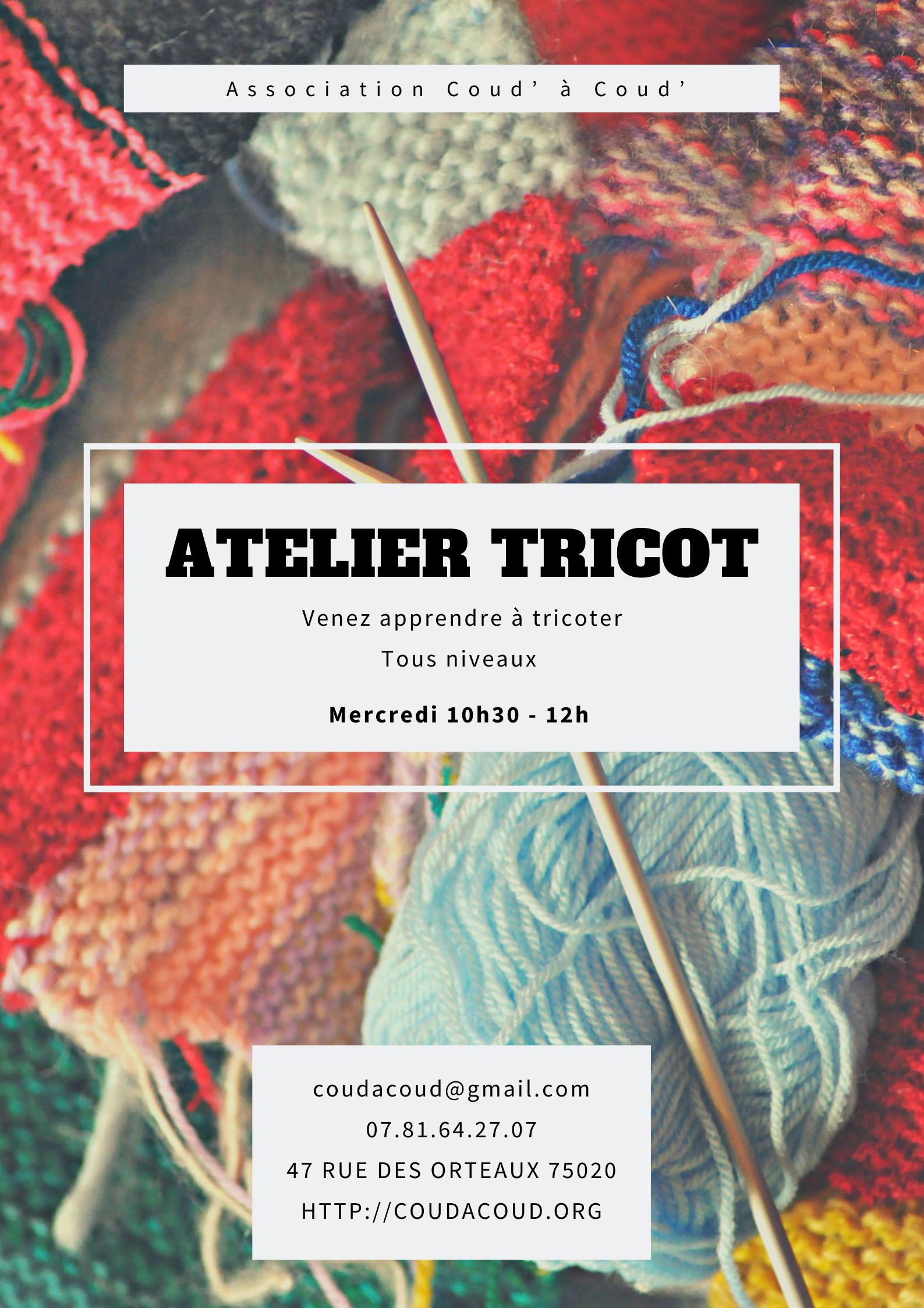 Annulé jusqu'à fin mars/Atelier tricot @ L'Ortie Roule